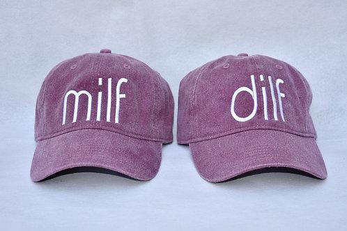 the dilf & milf hat set - eggplant