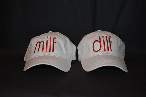 the dilf & milf hat set - white &red