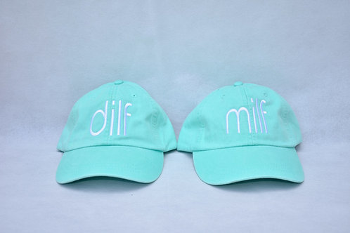 the dilf & milf hat set - mint green