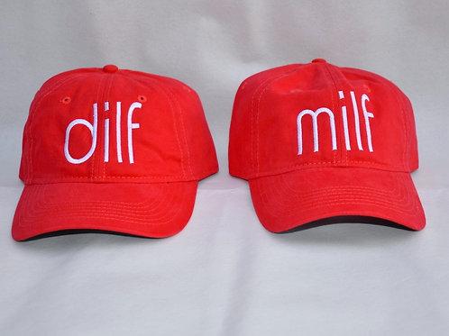 the dilf & milf hat set - red