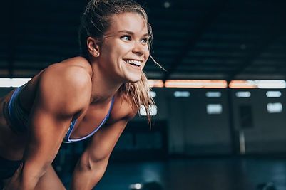 Girl working out smiling