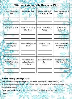 Winter Reading BINGO full page - kids.jp