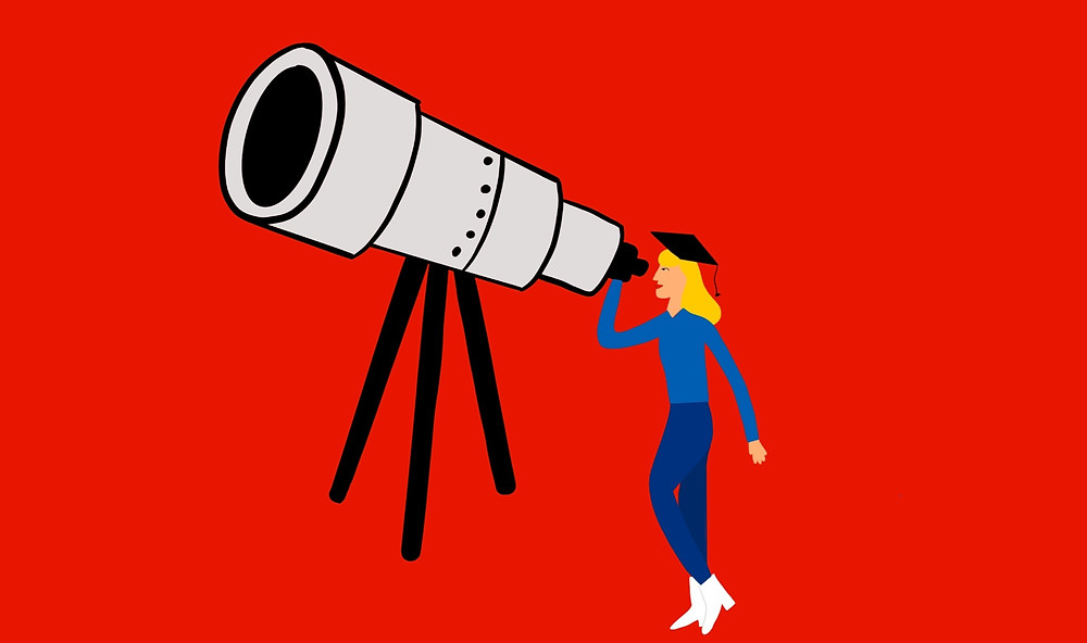 A simple drawing of a man wearing a student hat gazing through a telescope