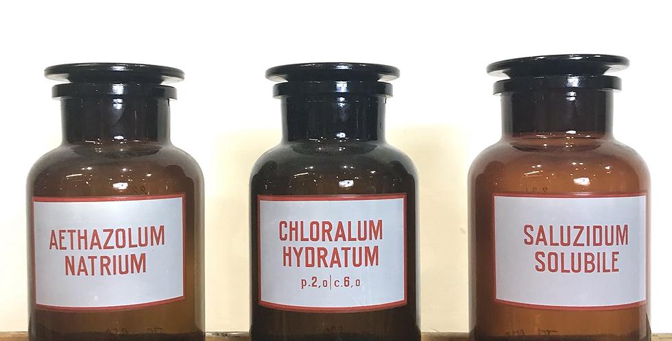 Set of 3 Apothecary Bottles