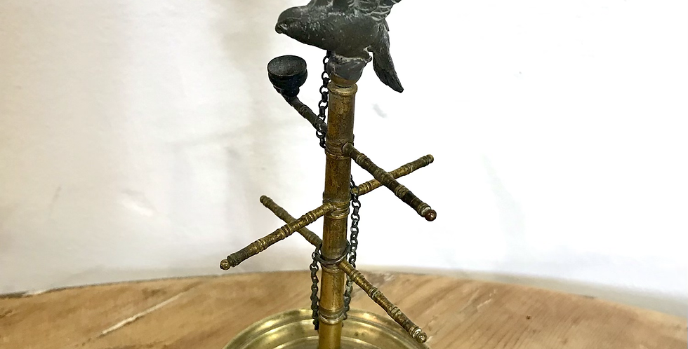 19th Century Gilded Ring Stand with Parrot Sculpture