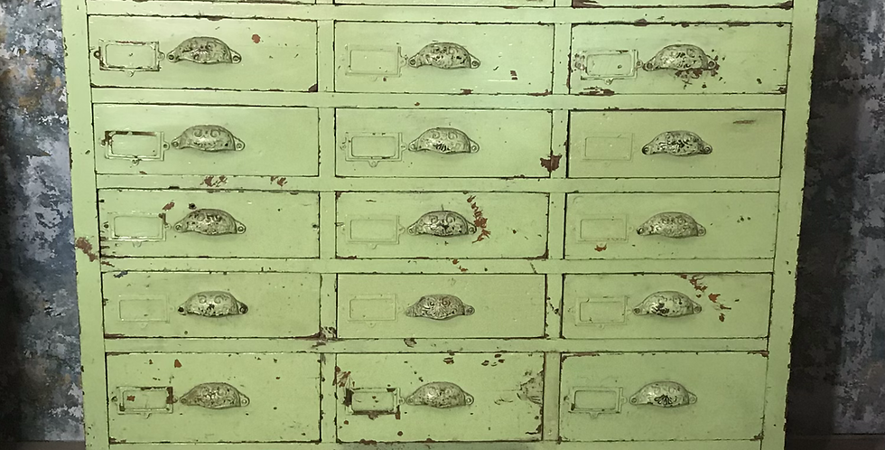 Victorian Painted Pine Bank of Shop Drawers