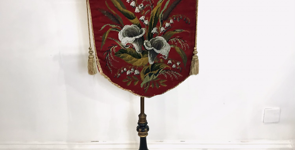 Tapestry and Beadwork Pole Screen c.1850