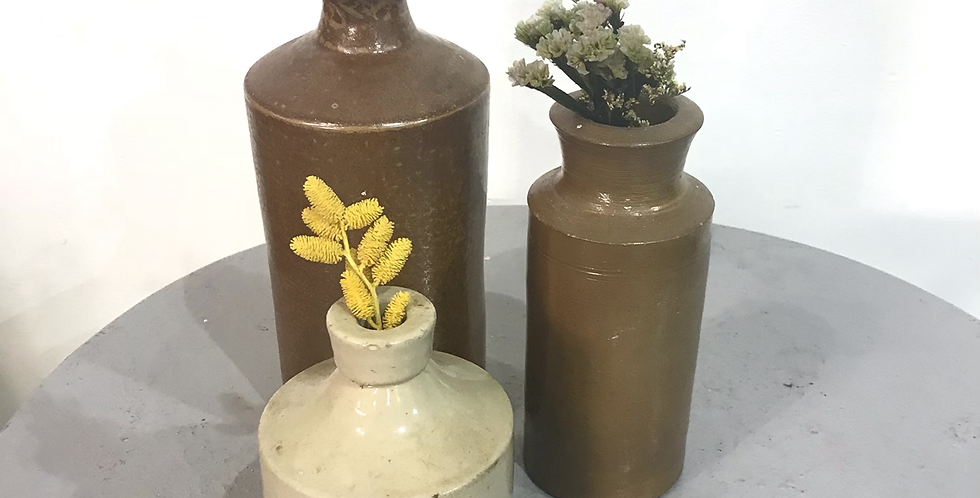 Collection of 3 Victorian Stoneware Ink Jars