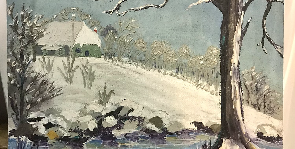 Oil on Board Painting of Snowy Landscape
