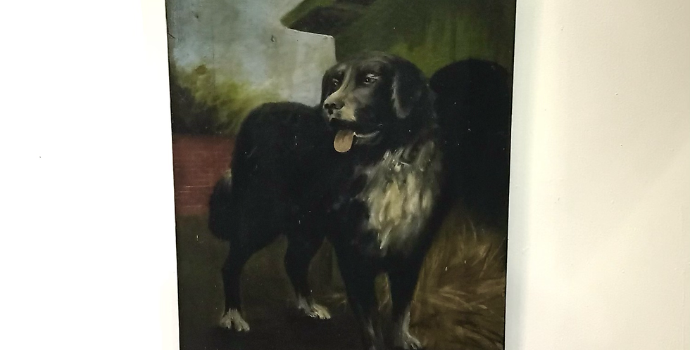 Oil on Canvas Painting of Sheepdog in a Farmyard