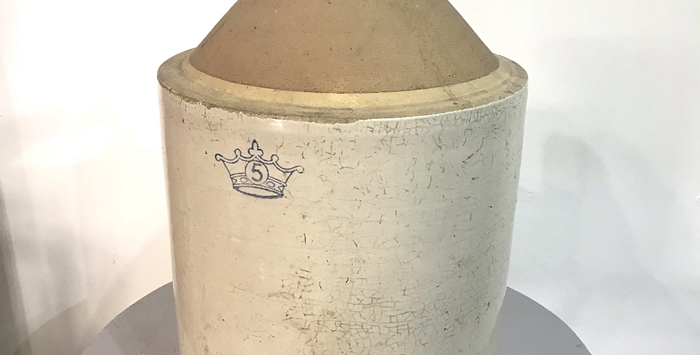 Early 20th Century 5 Gallon Stoneware Flagon