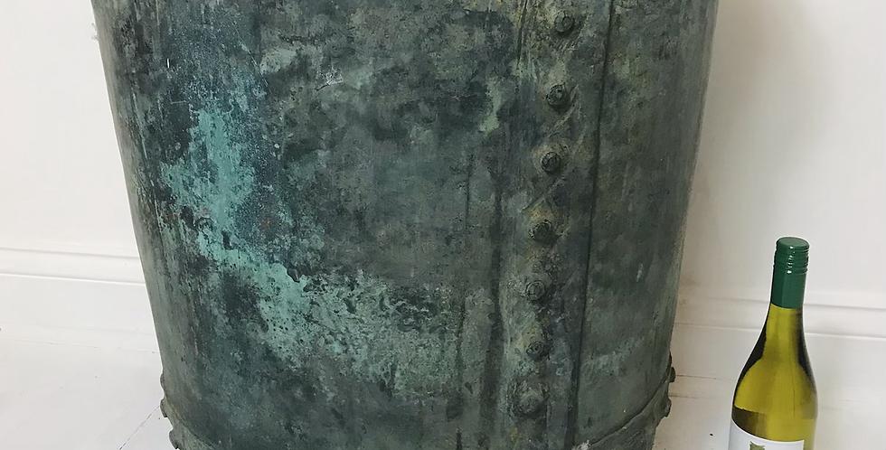 Large verdigris copper log bin / planter