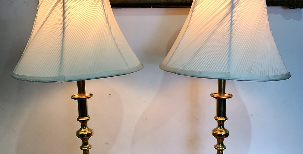 Pair of Victorian beehive candlesticks converted to lamps