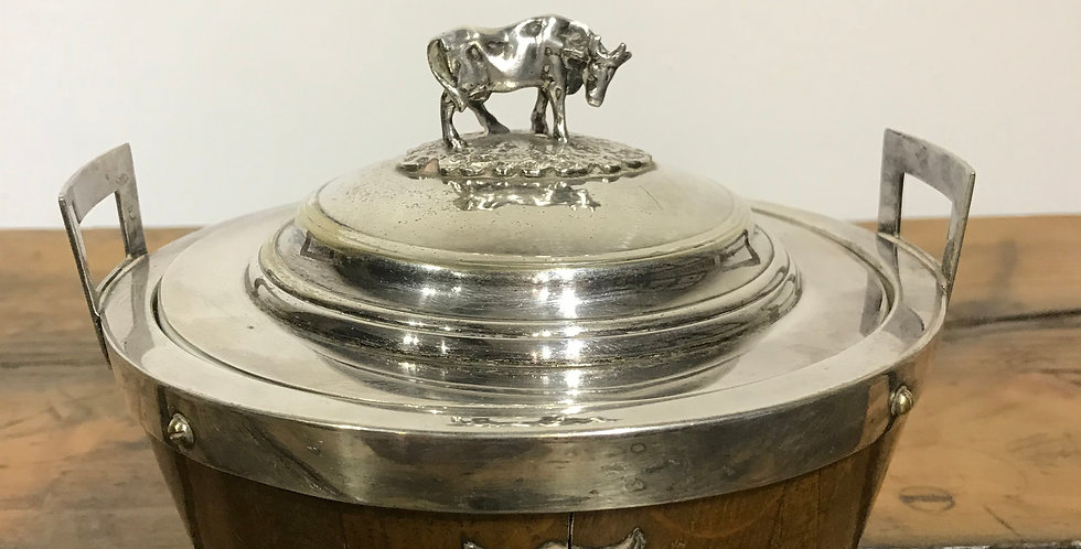 Oak and Silver Plate Butter Dish