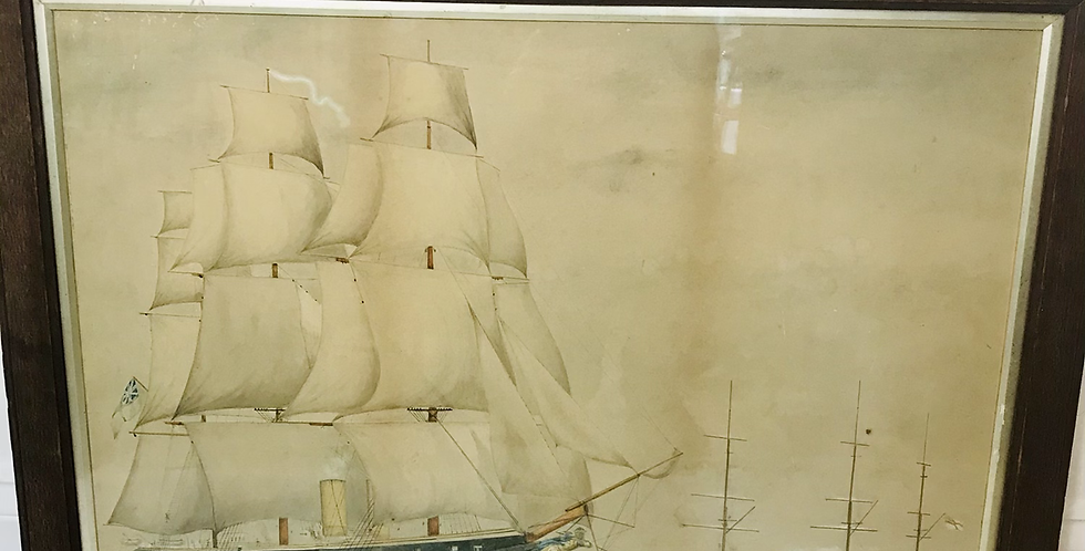 Naïve 19th C. Watercolour of Early Steam ships