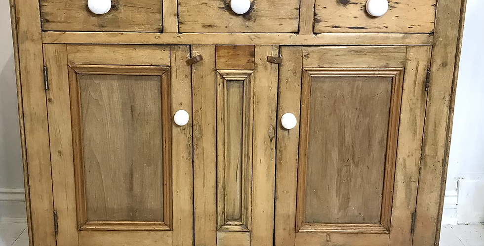 Large Victorian Pitch Pine Kitchen Cupboard