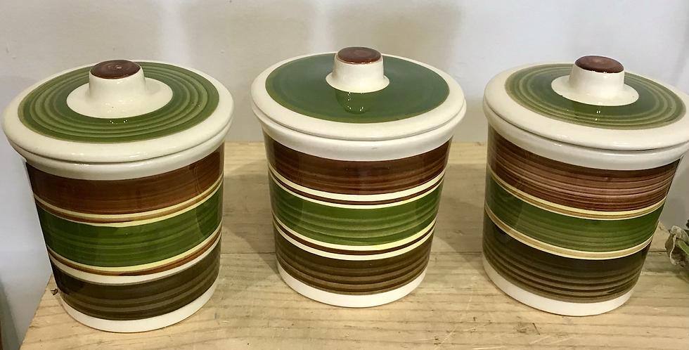 Set of 3 Dragon Pottery Rhayader Kitchen Jars