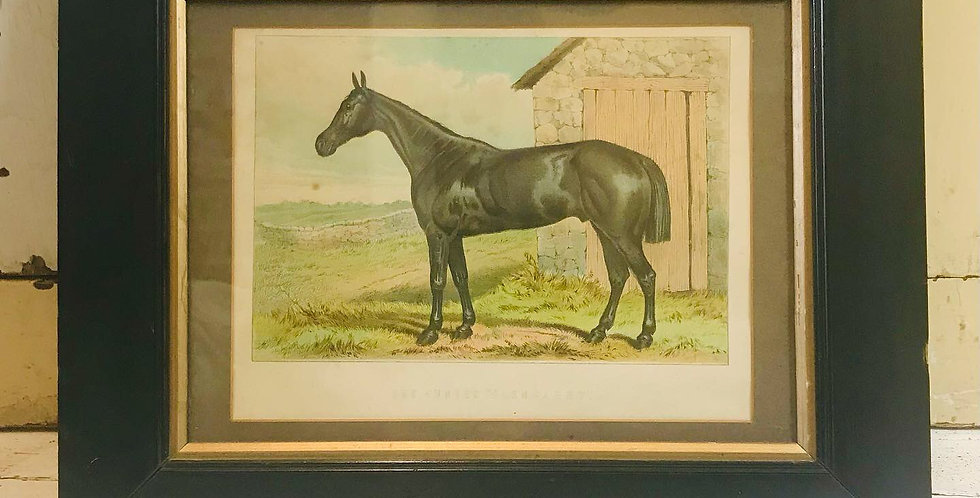 Victorian Lithographic print of horse and stable