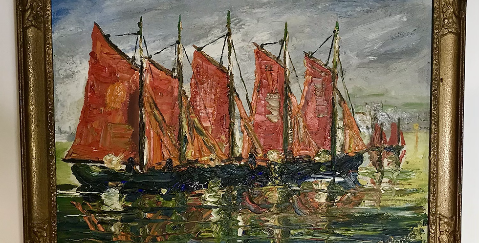 c.1950s Oil on Board - Brittany Fishing Boats