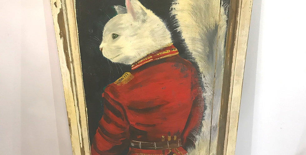 French Painting of Cat on Cupboard Door