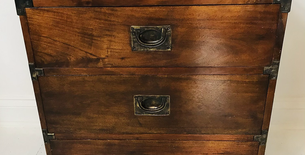 Early 1900's Mahogany Campaign Chest of Drawers