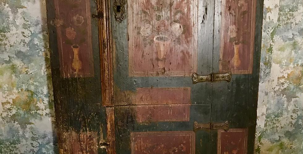 18th Century Dutch Folk Art Painted Cupboard