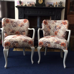 Pair small vintage chairs