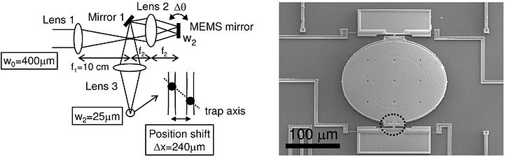 MEMS micromirros for ion trap quantum computer