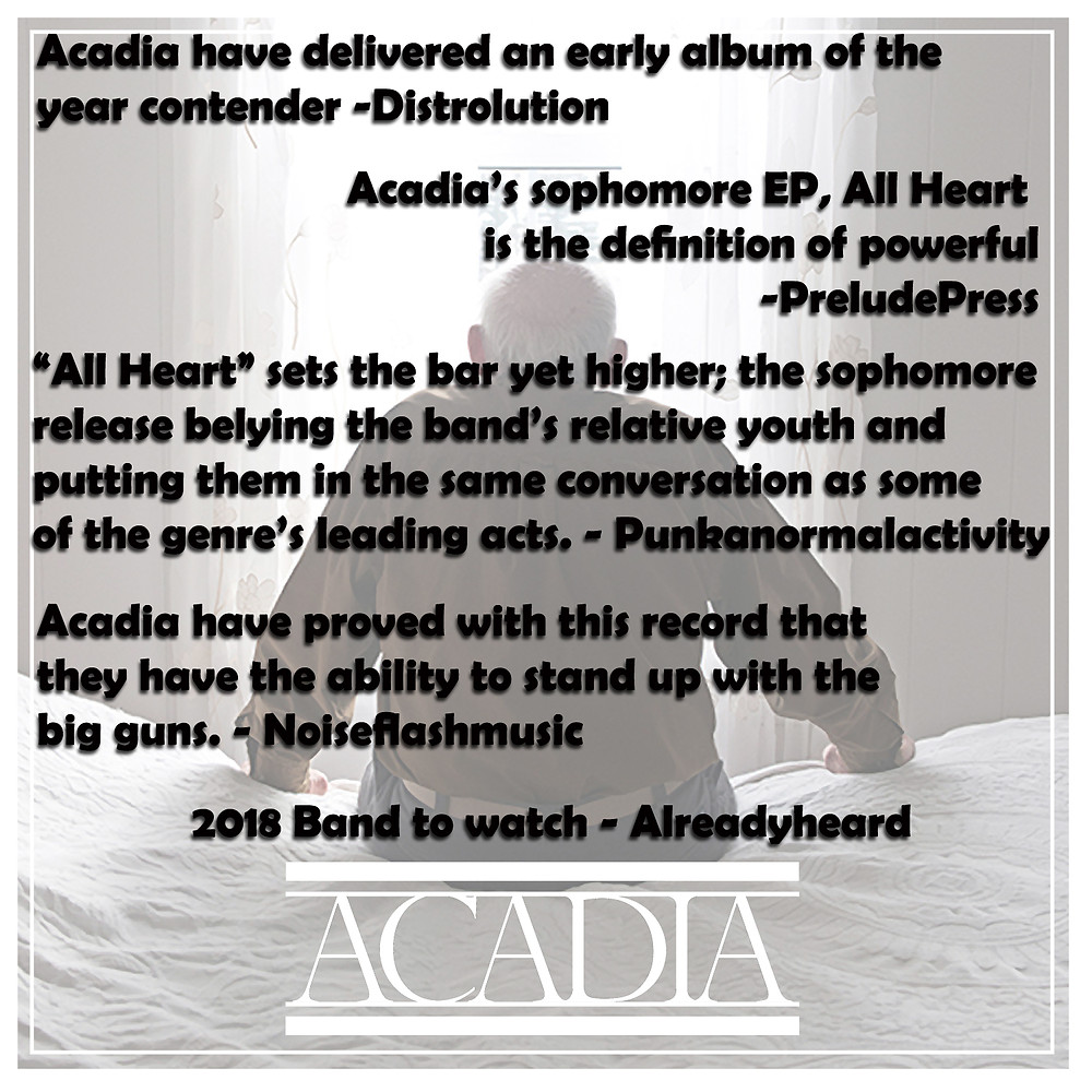 Earlier this month we released an outstanding album from Portland, ME's Acadia.  All Heart has been getting some really outstanding reviews.
