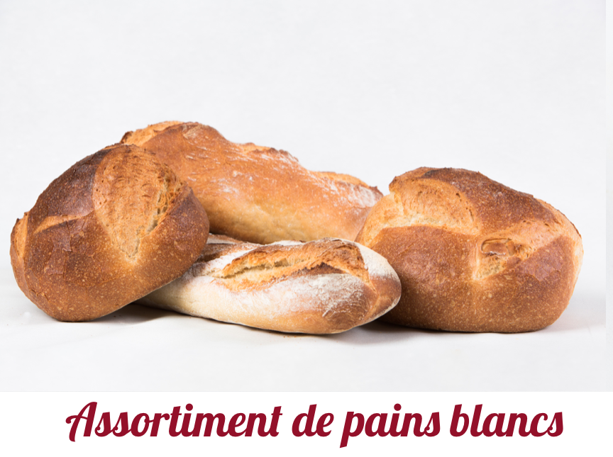 Assortiment de pains blancs