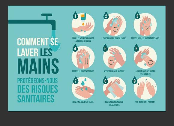 """Panneau """"Se laver les mains"""" 40x60cm"""