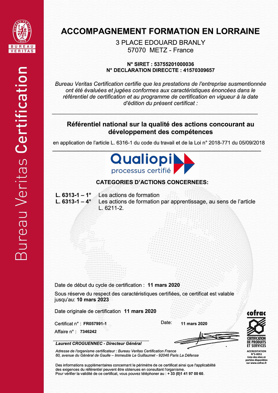 CERTIFICAT  QUALIOPI-ACCOMPAGNEMENT FORM