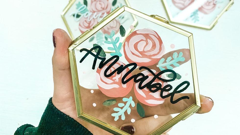 11cm Hand Painted Glass Hexagon