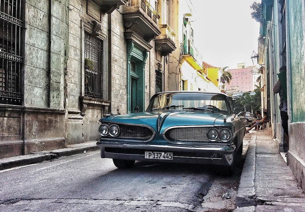 Classic American Pontiac car in Havana Cuba