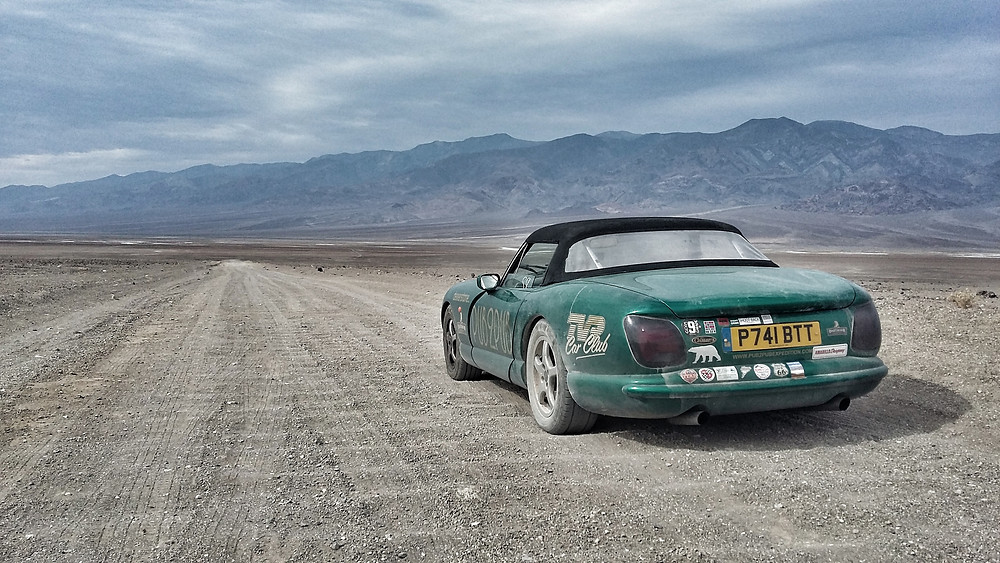 Death Valley overlanding trip in TVR Chimaera.  Pub2Pub Expedition.