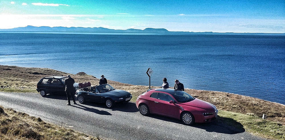 Alfa Romeo Brera, MX5, sea views on NC500 road trip