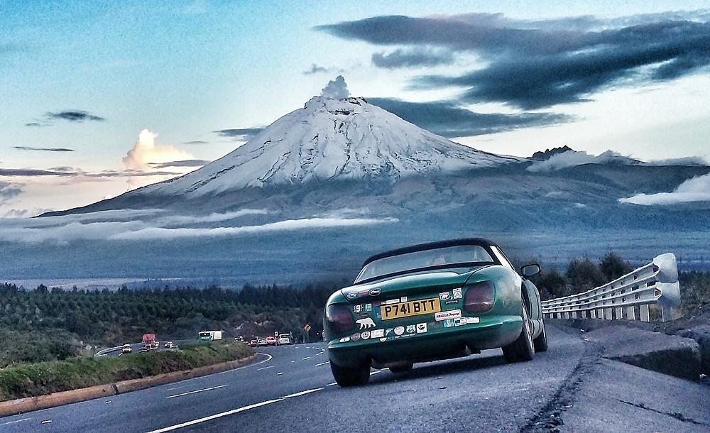 Pub2Pub Expedition TVR Chimaera, passing Ecuadors Cotopaxi Volcano.