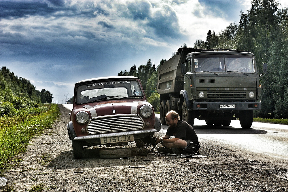 Classic Mini Mongol Rally in Siberia.