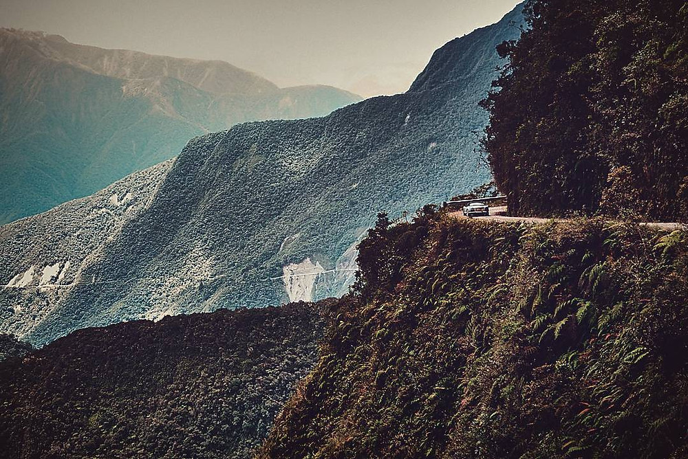 Driving death Road in Bolivia