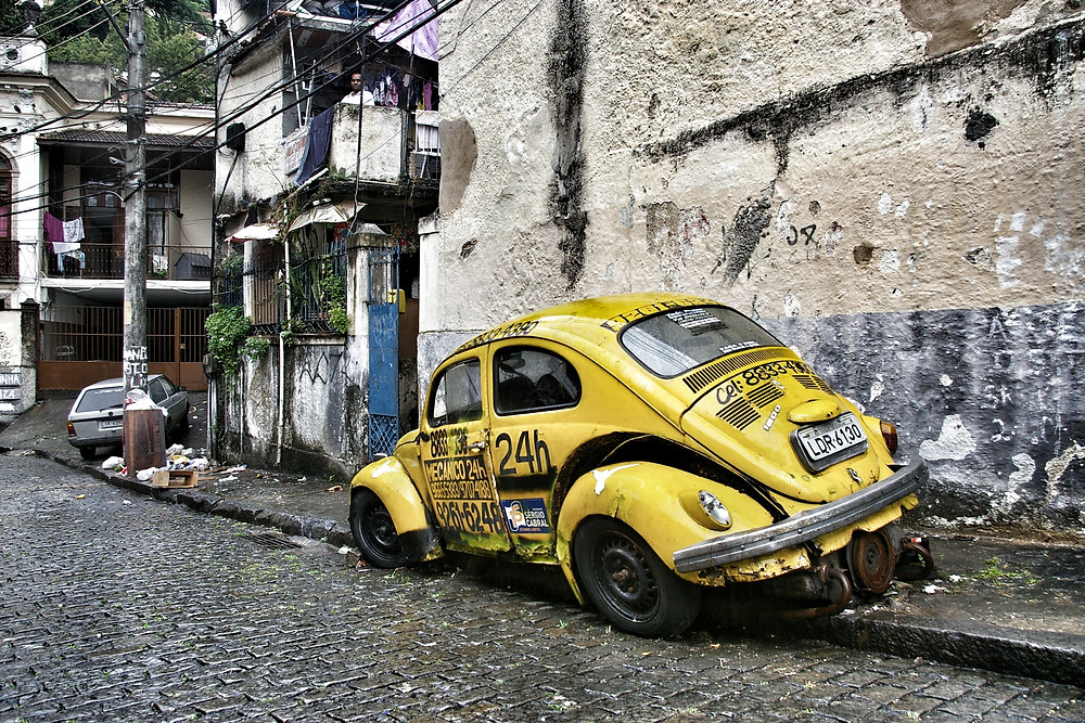 Yellow VW Beetle, in Brazil.