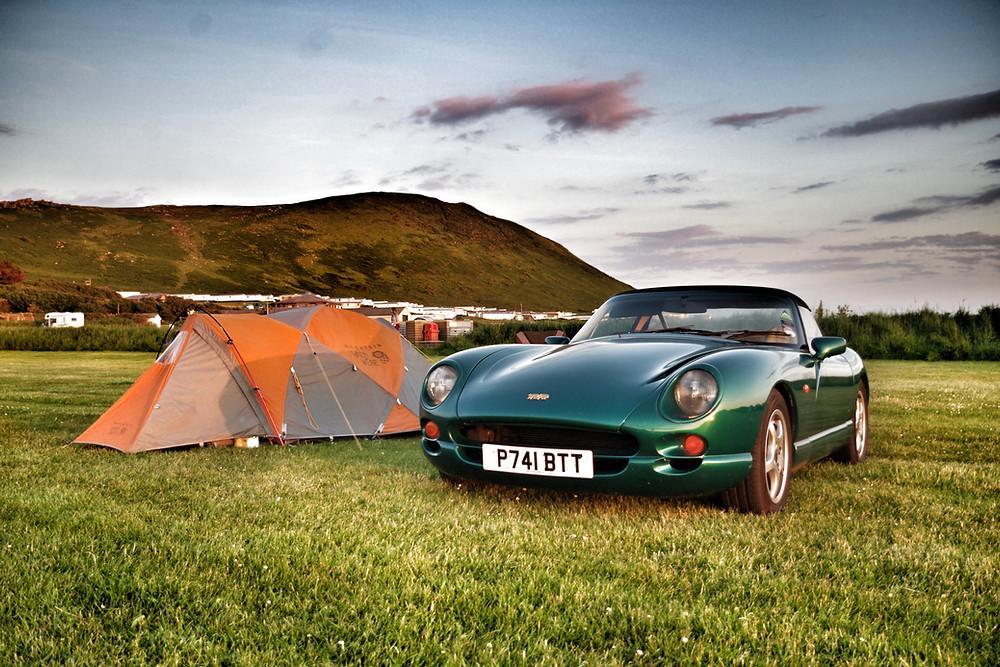 Car camping green TVR Chimaera sports car