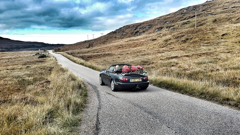 MX5 Mk1 on NC500 adventure, luggage rack for camping kit