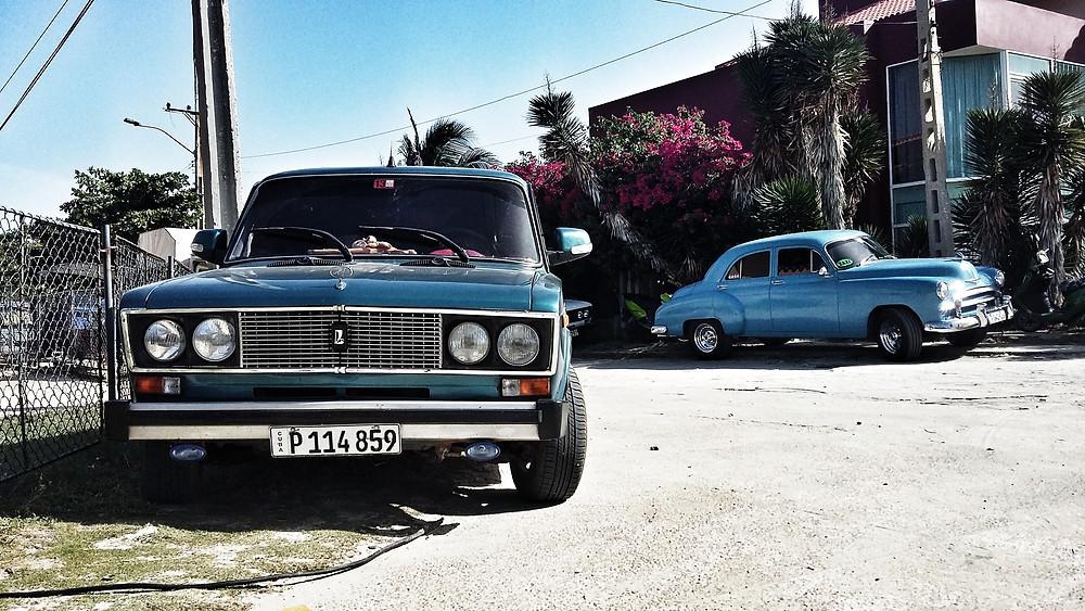 Lada and chevrolet americana in cuba