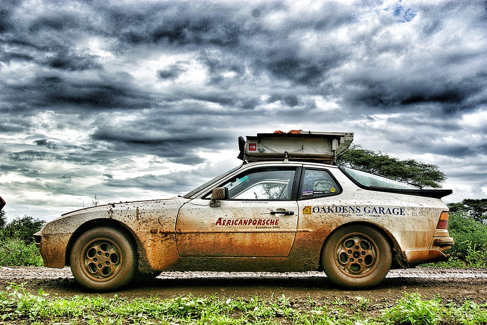 African Porsche Expedition - Porsche 944  on Moyale to Marsabit road, northern Kenya.  Cairo to Cape Town.