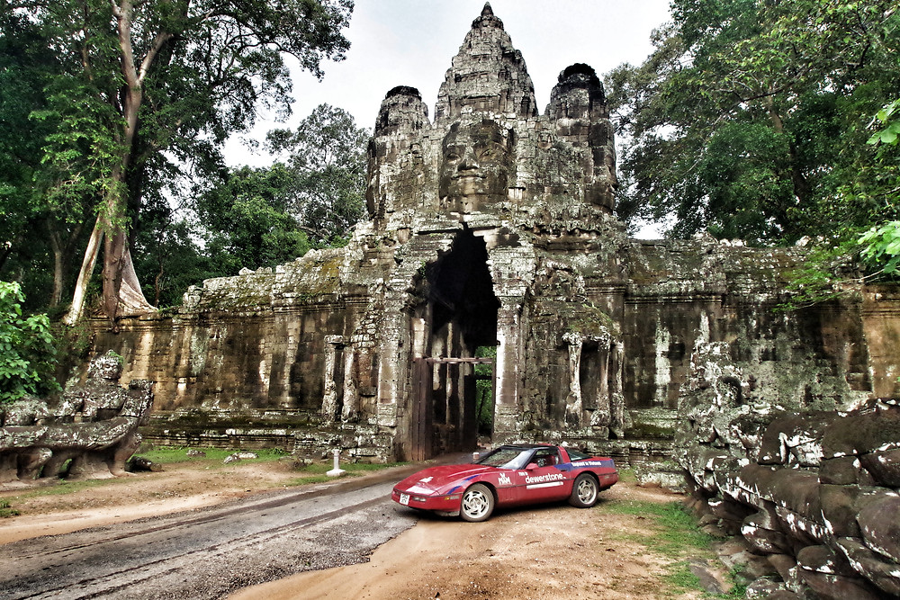 Red Chevrolet Corvette C4, Angkor Wat