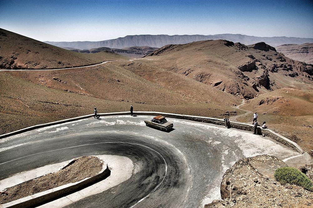 Morocco overland, high atlas mountains in a brown Rover P6 V8