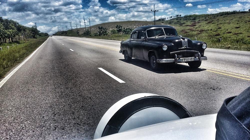 Taking the taxi from Varadero to Havana, cuba