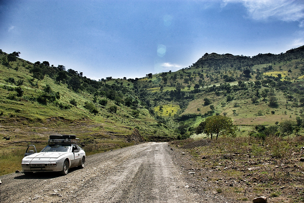 White Porsche 944 in Ethiopia during African Porsche Expedition