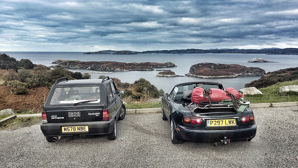 NC500 Gairloch, Classic Fiat Panda 998cc and Mazda MX5 Mk1 with lugage rack