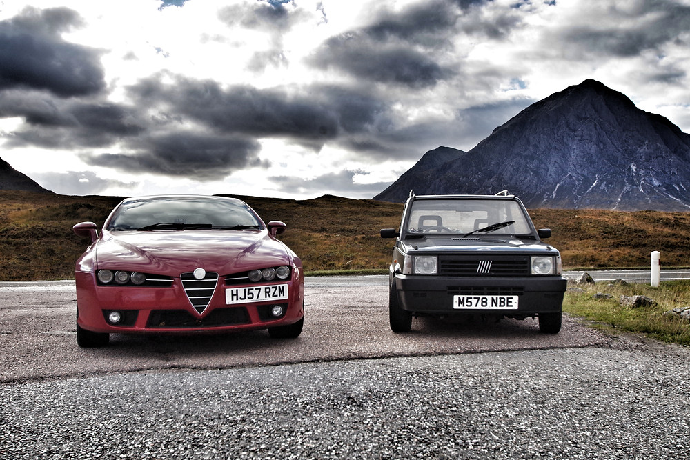 Alfa Romeo Brera and Classic Fiat Panda, road trip to scotland